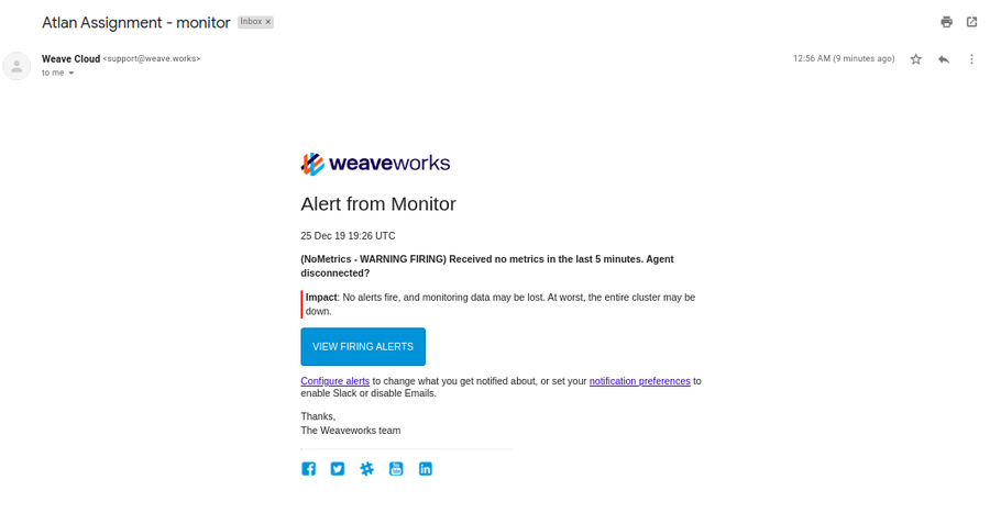 Weave Cloud email alerts